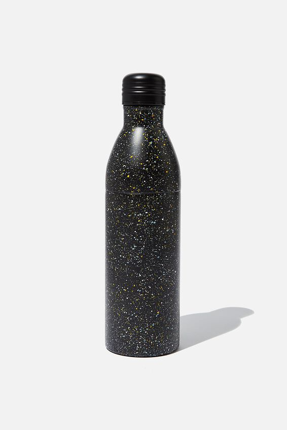 Two Piece Metal Drink Bottle, BLACK MULTICO SPLATTER