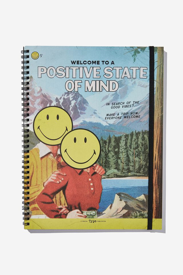 A4 Smiley Spinout Notebook Recycled, LCN SMI SMILEY POSITIVE STATE OF MIND