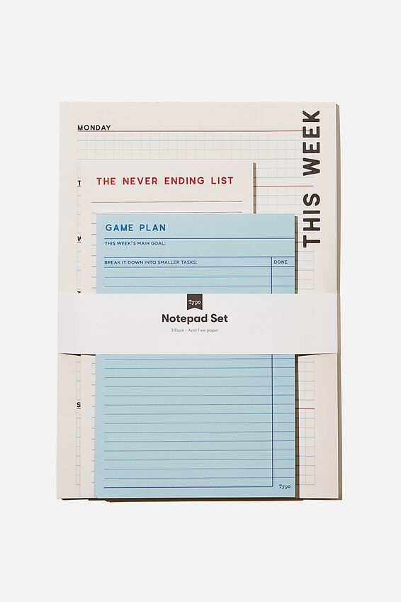 Notepad 3Pk, BLUE GRID