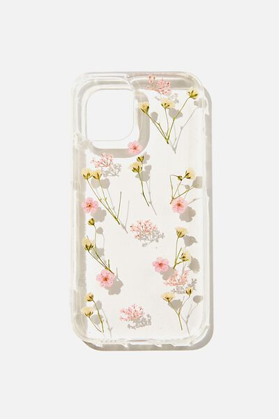 Protective Phone Case Iphone 12 Mini, PINK TRAPPED MICRO FLOWERS