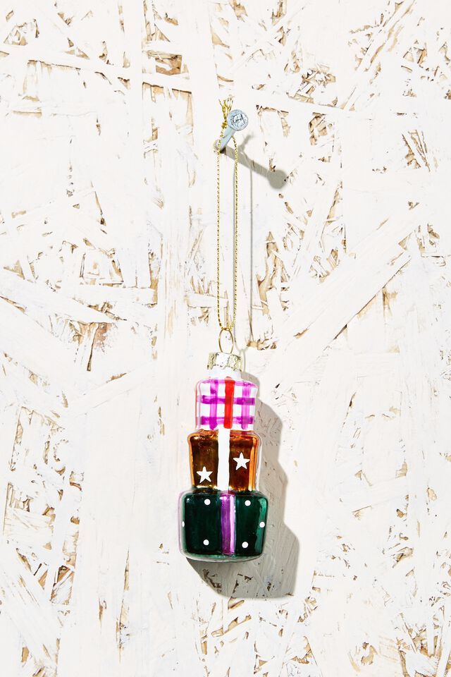 Small Glass Christmas Ornament, STACK OF PRESENTS