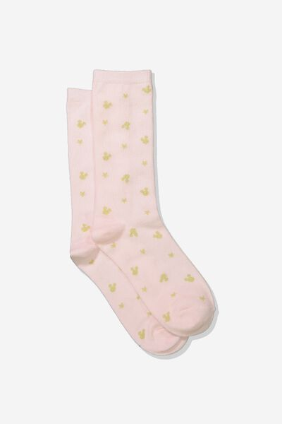 Womens Novelty Socks, LCN GOLD MICKEY HEADS