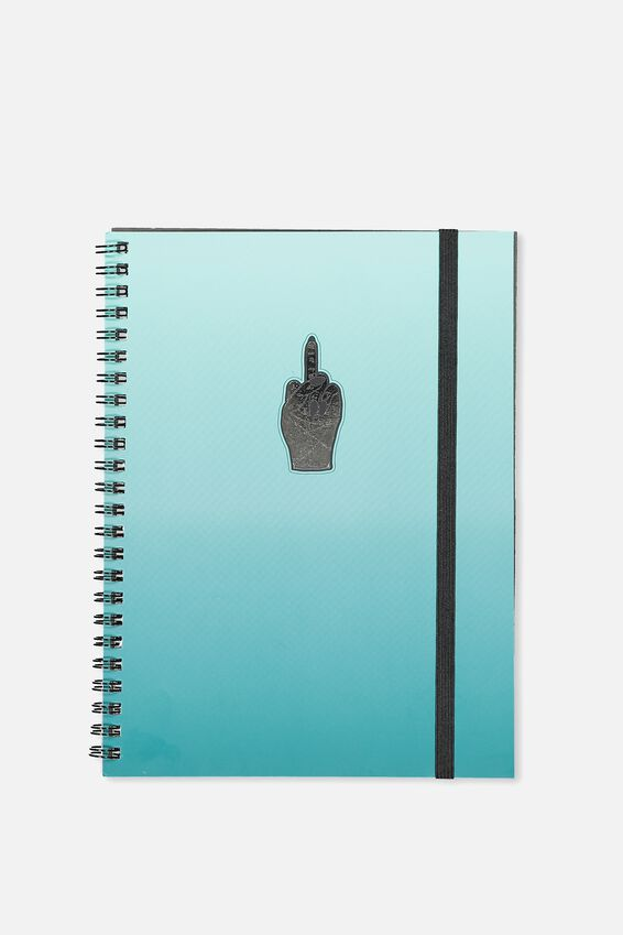 A5 Spinout Notebook - 120 Pages, OMBRE TEAL RUDE FINGER!
