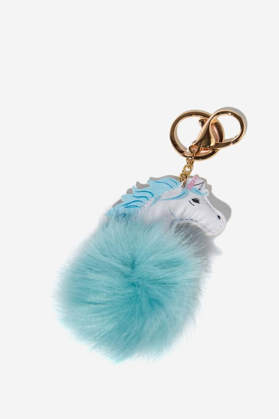 Bag Charm, UNICORN HEAD POM POM