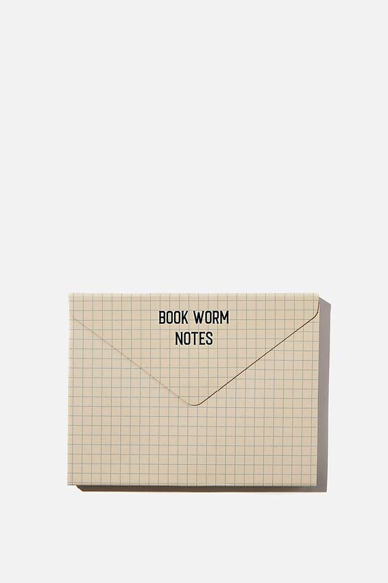 Planner Pocket Sticky Note Set, BOOK WORM NOTES