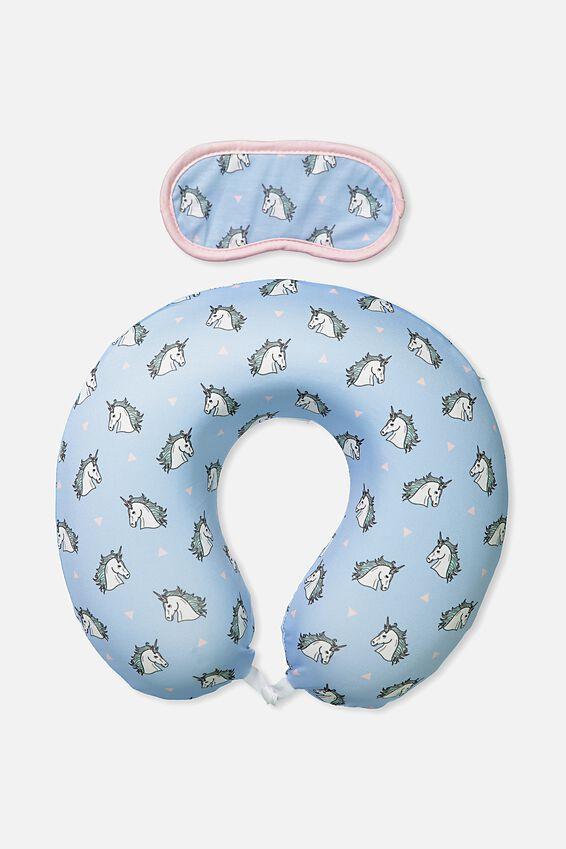 Foam Travel Pillow Set, BLUE UNICORN