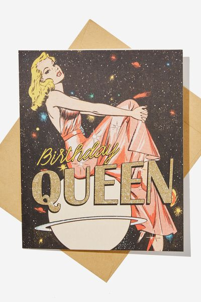 Funny Birthday Card RETRO GLITTER QUEEN