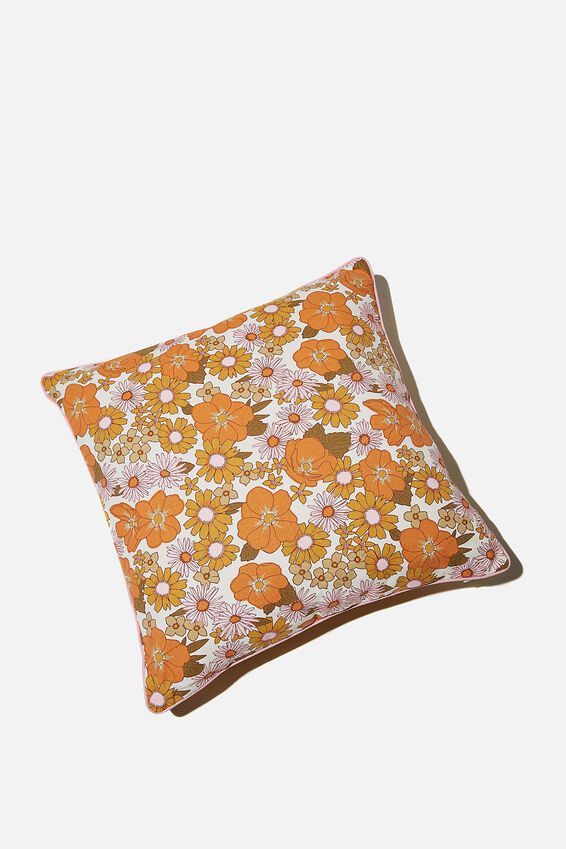 Square Cushion, STEVIE FLORAL ORANGE & PINK