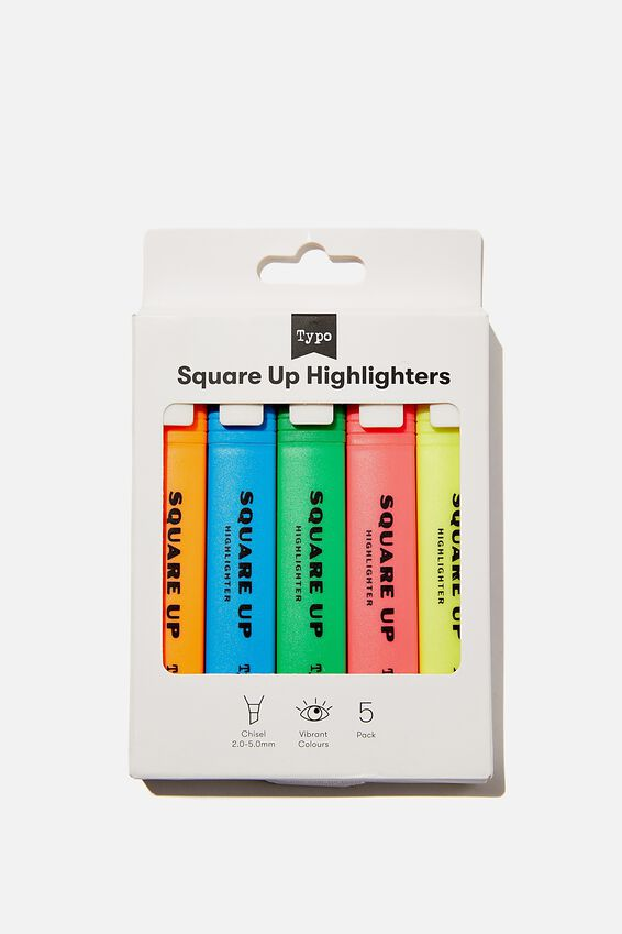 Square Up Highlighter 5Pk, BRIGHTS