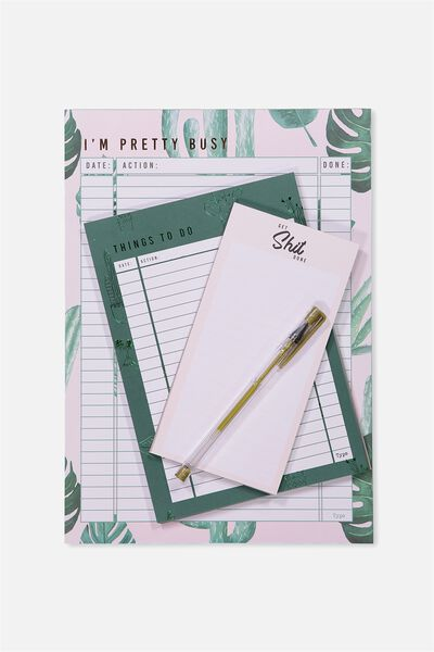 Notepad 3Pk, MONSTERIA LEAF