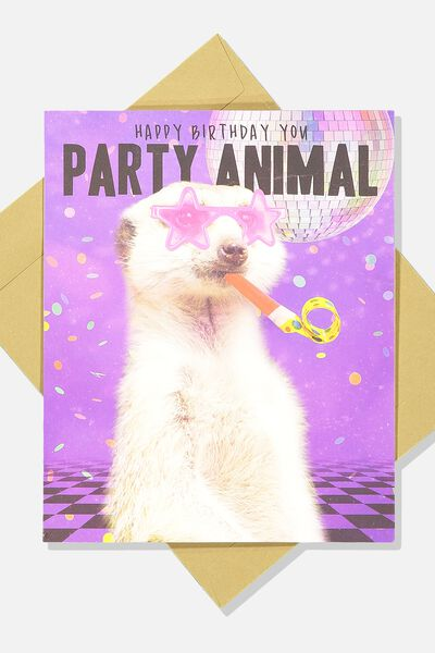 Funny Birthday Card, PARTY MEERKAT