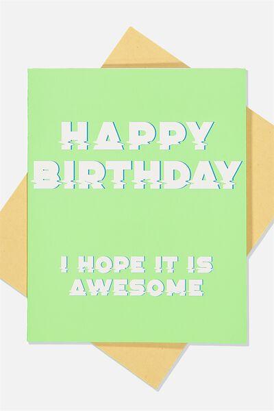 Nice Birthday Card, AWESOME BIRTHDAY GREEN
