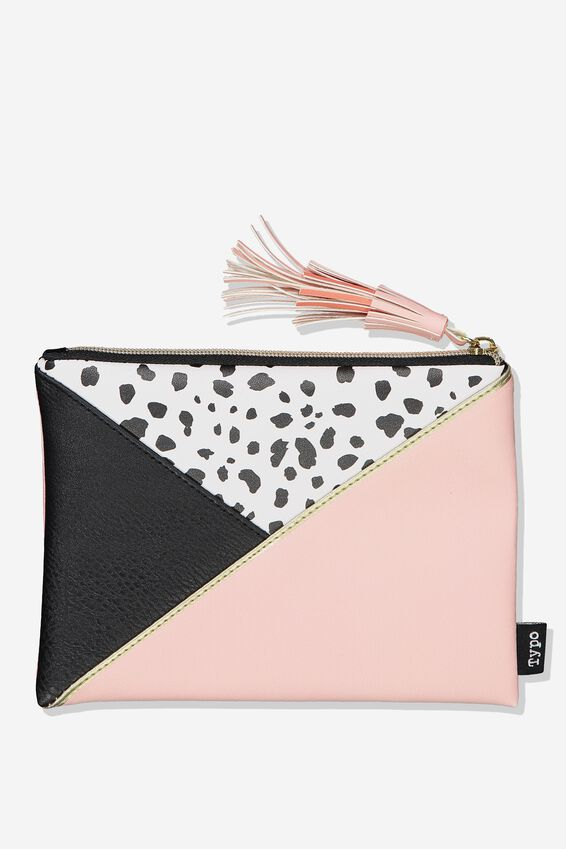 Riley Pencil Case, SPOT PINK SPLICE