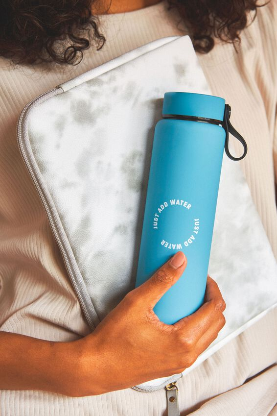 On The Move Metal Drink Bottle 500Ml, DENIM BLUE JUST ADD WATER