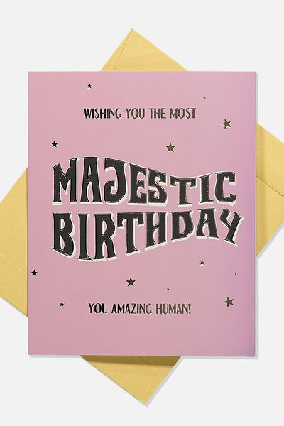 Nice Birthday Card, MAJESTIC BIRTHDAY TEXT