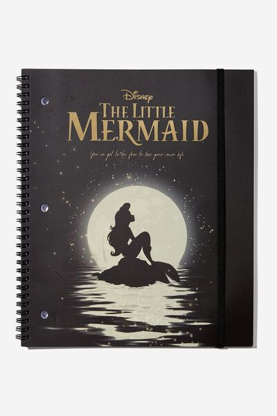 College Ruled Spinout Notebook V, LCN DIS LITTLE MERMAID SILHOUETTE