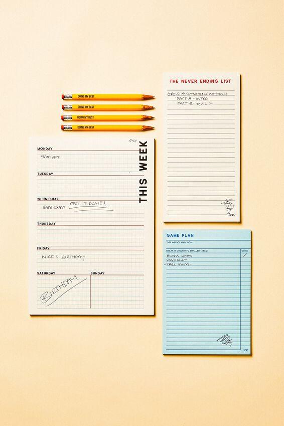 Notepad 3Pk, BLUE GRID