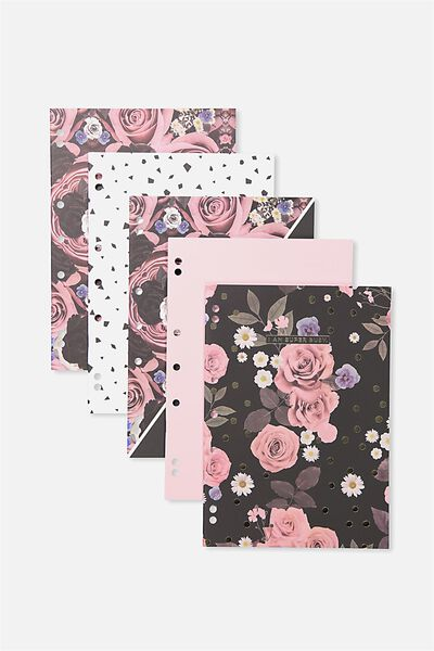 Work It Out Notebook pk 5, PINK POLKA FLORAL
