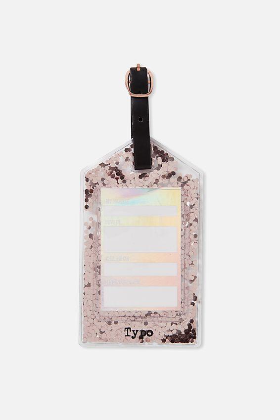 Glitter Filled Bag Tag, ROSE GOLD GLITTER