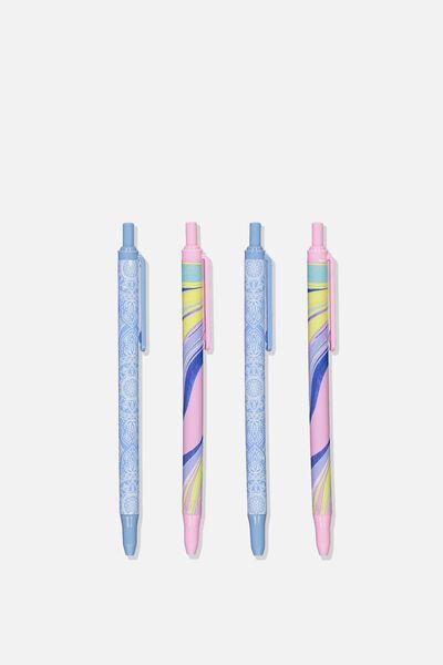 Printed Pen Black 4Pk, MANDALA & MARBLE