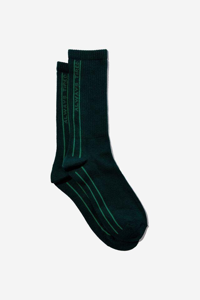 Socks, ALWAYS TIRED GREEN TUBE