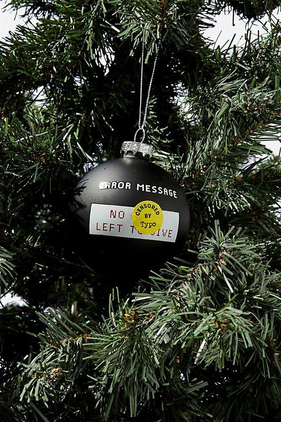 Small Glass Christmas Ornament, BAUBLE NO F#$KS!!