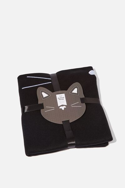 Knitted Throw, BLACK CAT