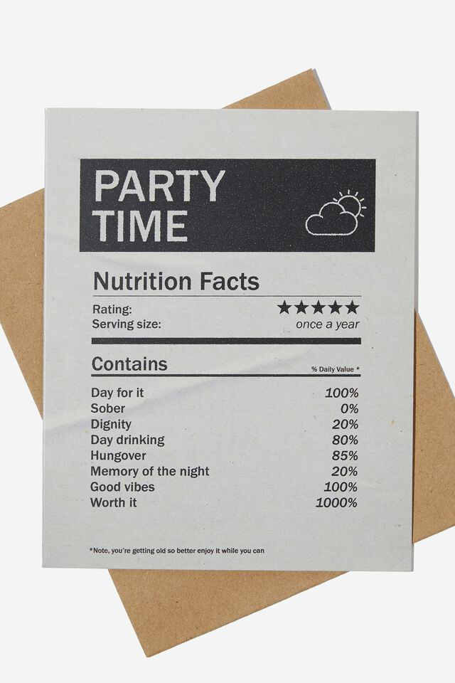 Funny Birthday Card, PARTY TIME WEATHER REPORT
