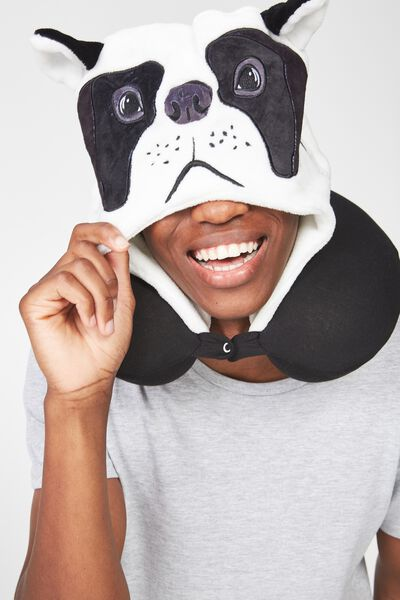 Hooded Travel Neck Pillow, NOVELTY FRENCHIE