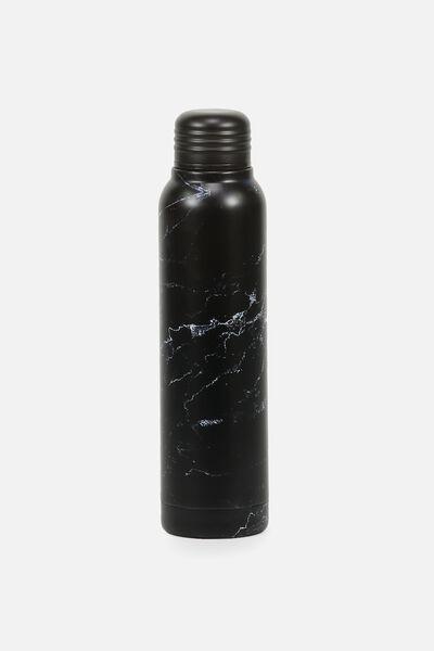 Small Metal Drink Bottle, BLACK MARBLE