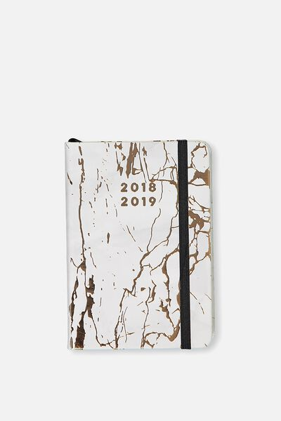 2018 19 A6 Small Weekly Buffalo Diary, MARBLE
