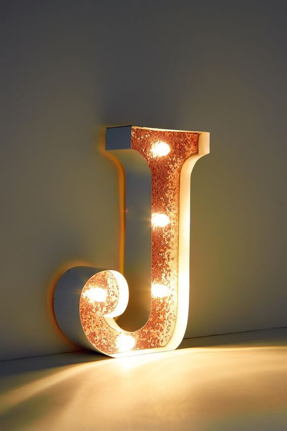 Marquee Letter Lights Premium 16cm Midi, WHITE WITH ROSE GOLD J