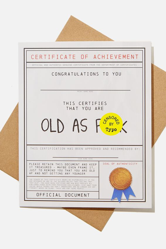 Funny Birthday Card, OLD AS F*CK AWARD!!