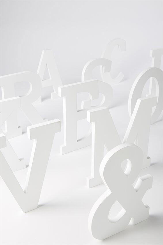 Letterpress Wooden Letter, WHITE O