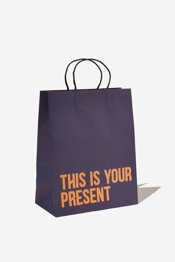 Get Stuffed Gift Bag - Medium, THIS IS YOUR PRESENT NAVY ORANGE