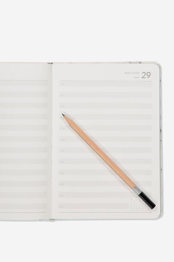 2020 A5 Daily Buffalo Diary, WHITE MARBLE