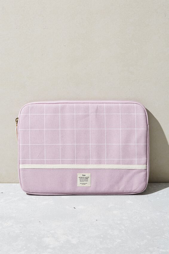 Canvas 13 Inch Laptop Case, HEATHER GRID