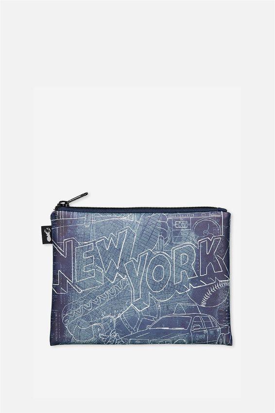 Pu Campus Pencil Case, NEW YORK DENIM SKETCH