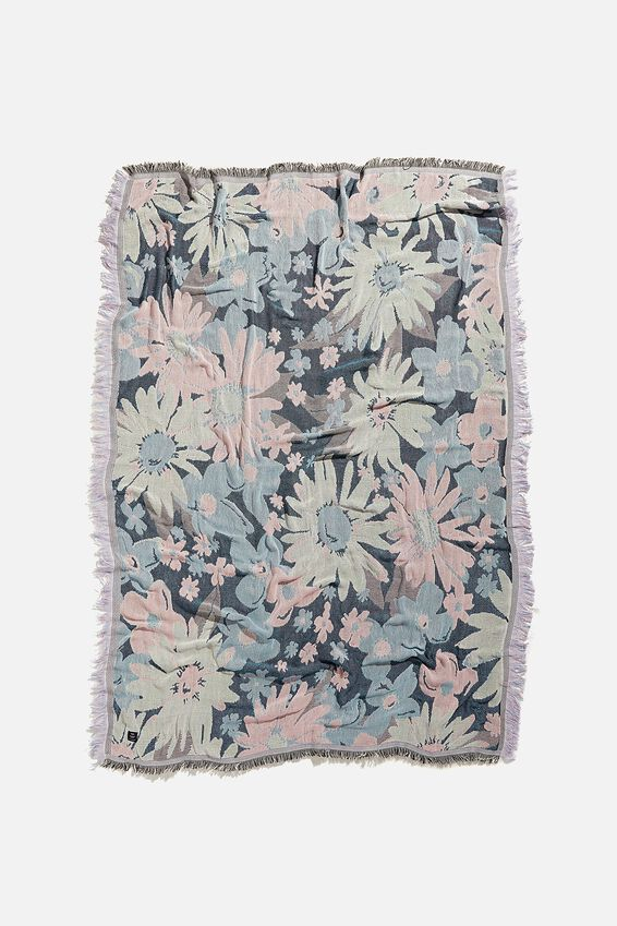 Woven Throw, BLUE FLORAL