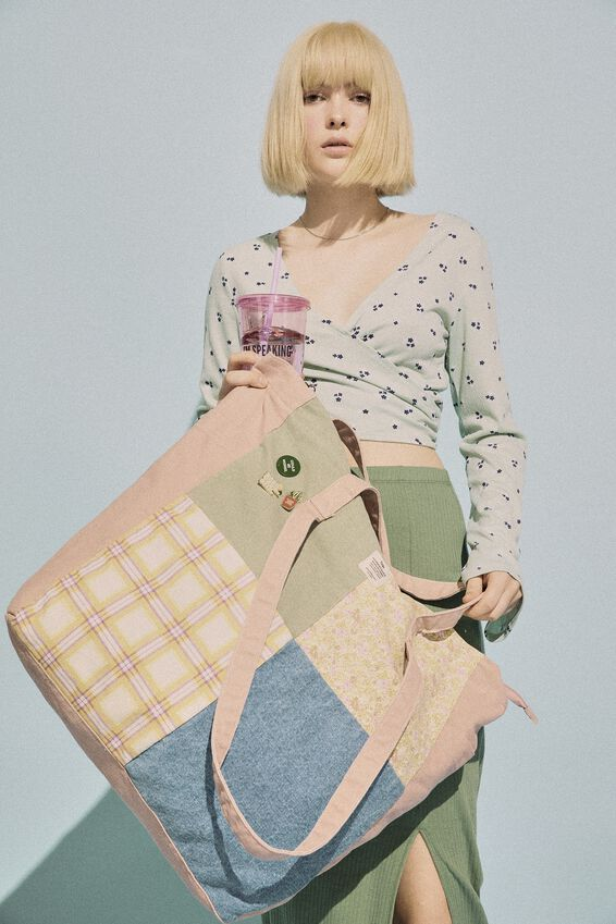 The Studio Tote Bag Patched Up, COTTAGE CORE PATCHWORK