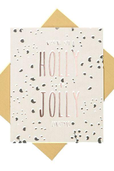 Christmas Cards 2017, GOLD FOIL HOLLY JOLLY