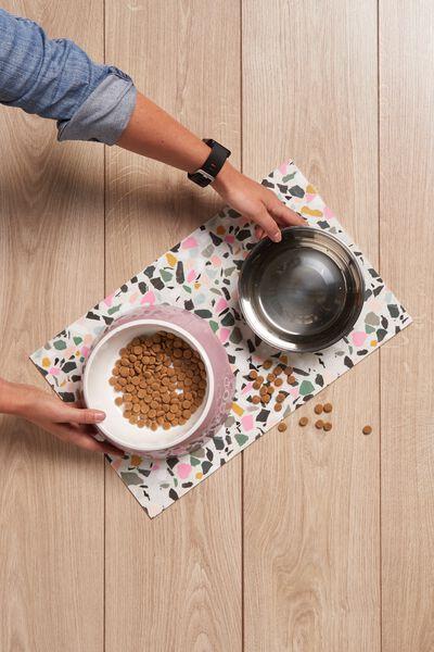 Pet Printed Food Mat, TERRAZZO