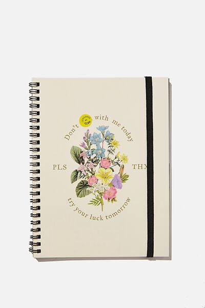 A5 Spinout Notebook Recycled, DON'T FCK WITH ME TODAY FLORAL!!