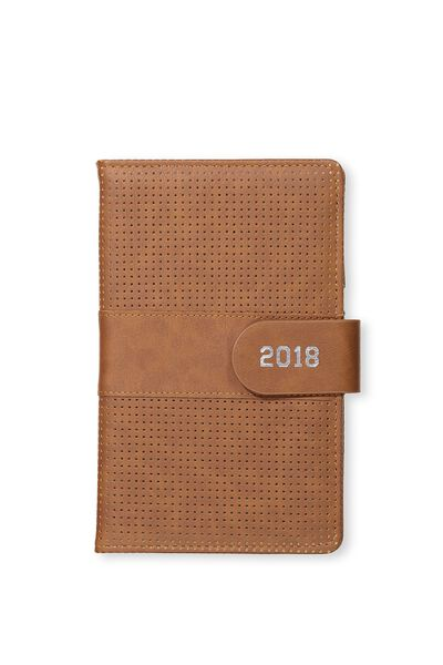 2018 Deluxe Diary, PERFORATED TAN