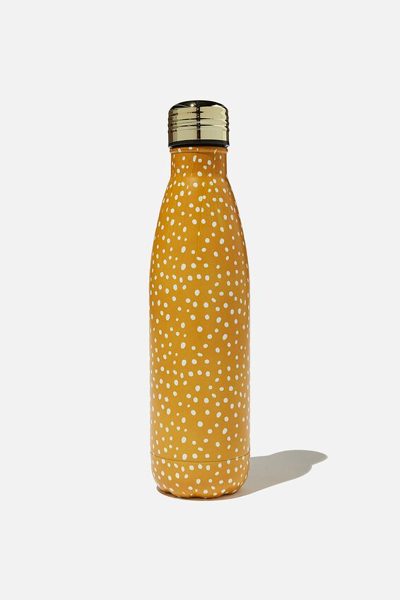 Metal Drink Bottle, MUSTARD POLKA DOT 2