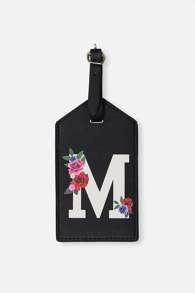 Letter Luggage Tag, BLACK FLORAL M