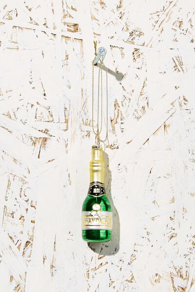 Small Glass Christmas Ornament, CHAMPAGNE BOTTLE