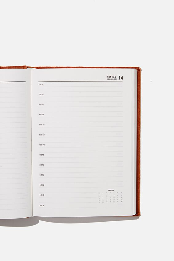 2021 A5 Oxford Daily Diary, DEEP RUST CORD