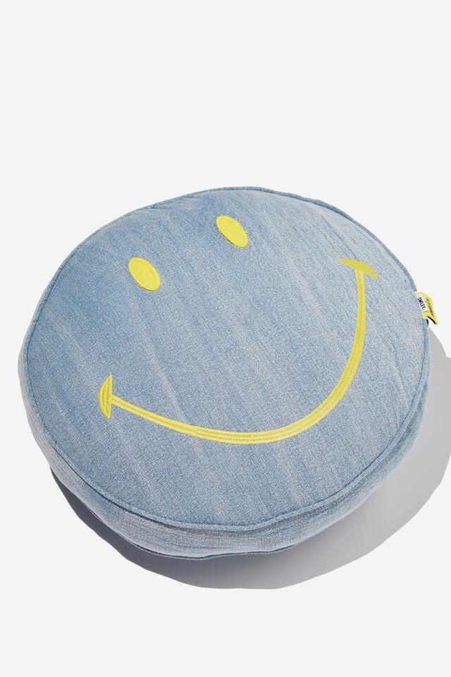 Smiley Denim Get Cushy Cushion, LCN SMI SMILEY BLUE DENIM
