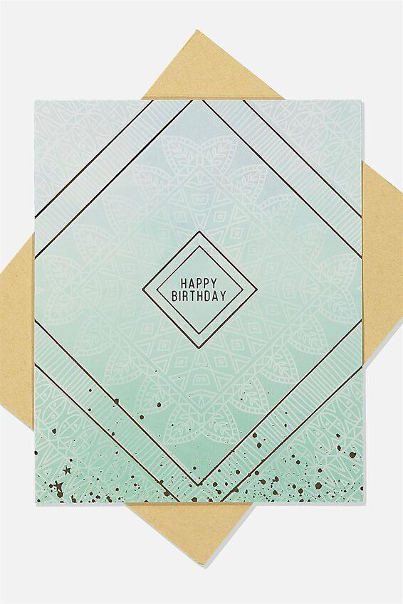 Nice Birthday Card, BLUE PAISLEY GOLD